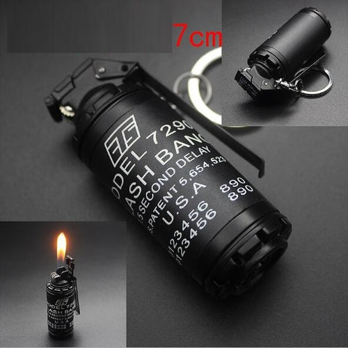 Gas Lighter -  Military Practical Tactical Flash Bang Replica Key Chain (2 Pieces)
