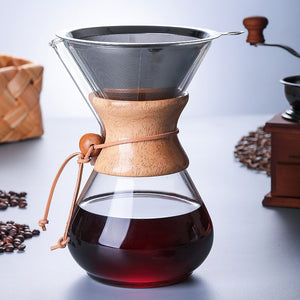 High Quality Borosilicate Glass Pour Over Coffeemaker 4 Cup Stainless Steel Paperless Filter