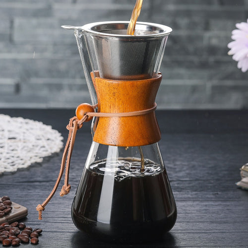 High Quality Borosilicate Glass Pour Over Coffeemaker 2 Cup Stainless Steel Paperless Filter