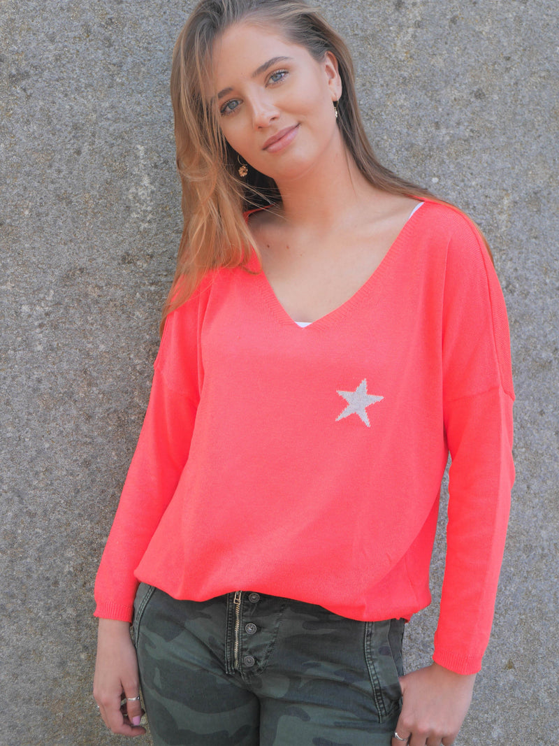Star Cotton V Neck Coral