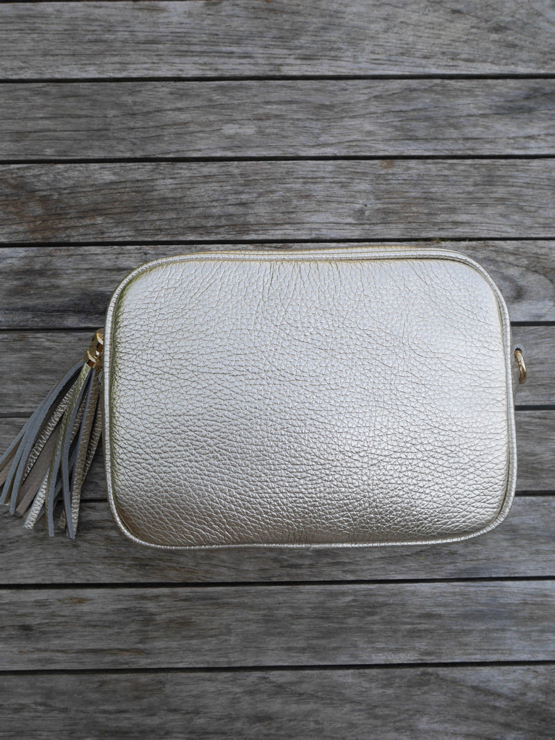 Gold Cross Body Leather Bag