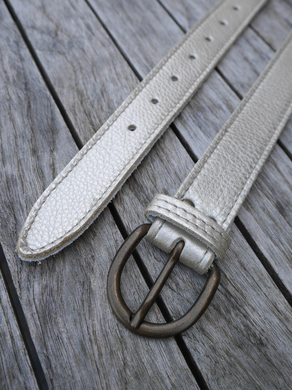 Pale Gold Leather Belt