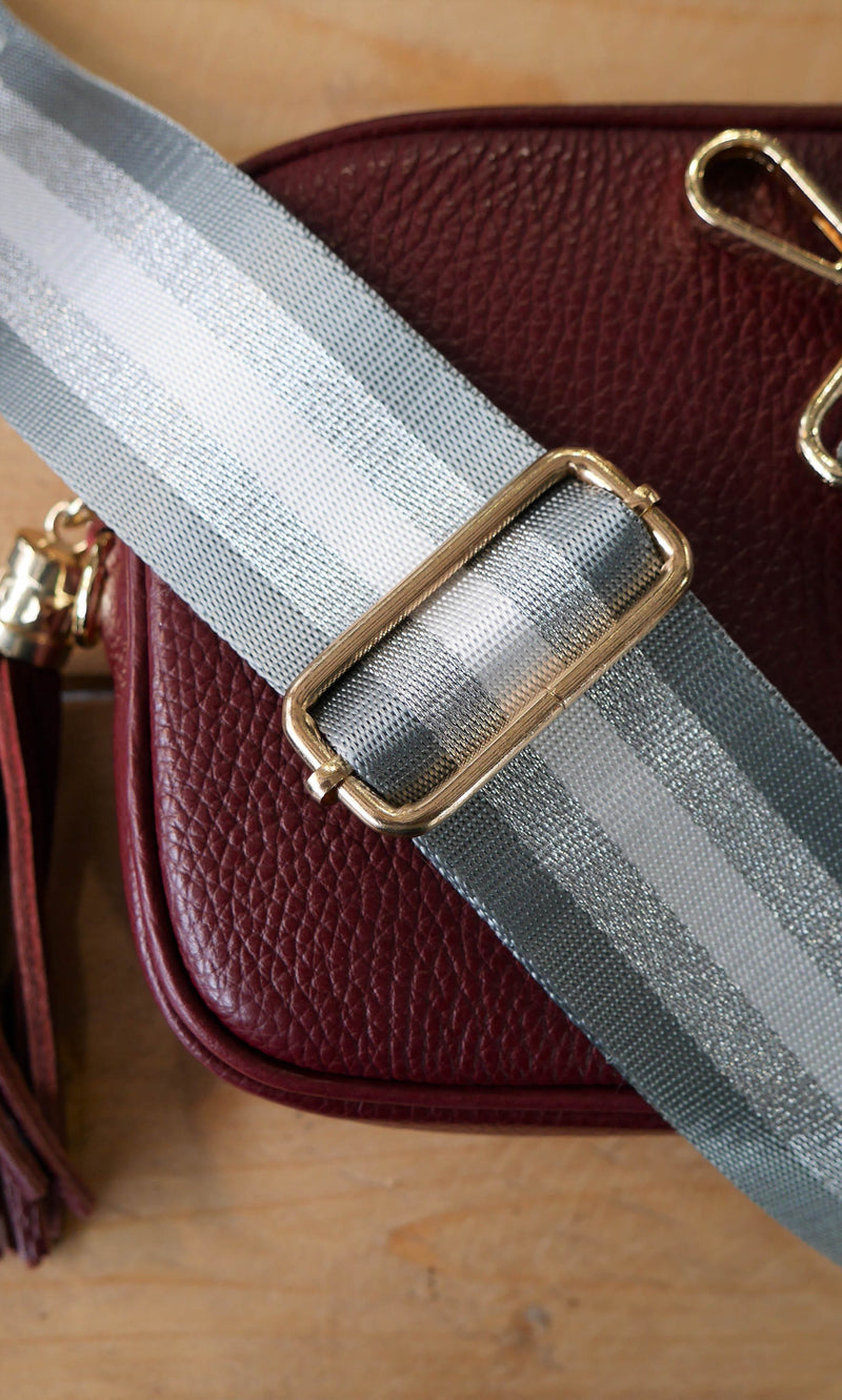 Grey and Silver Stripe Bag Strap
