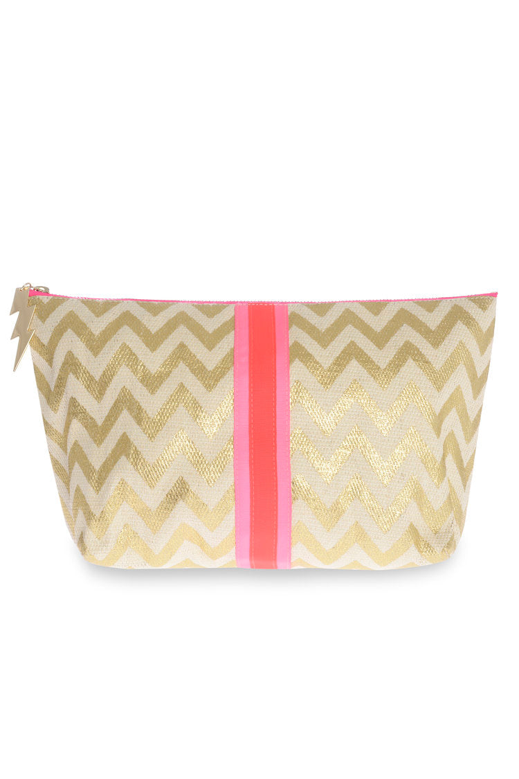 Gold Zigzag Make Up Bag