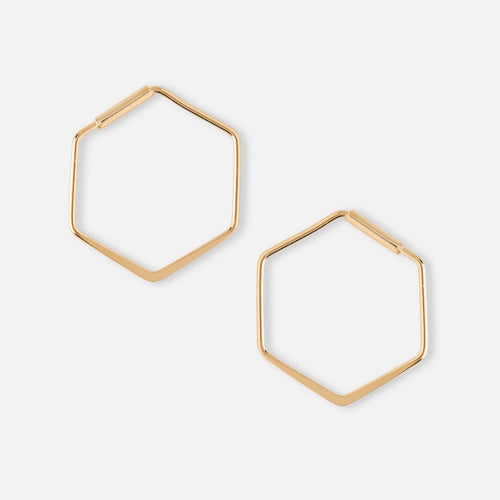 Orelia Small Hexagon Hoop Gold Earrings