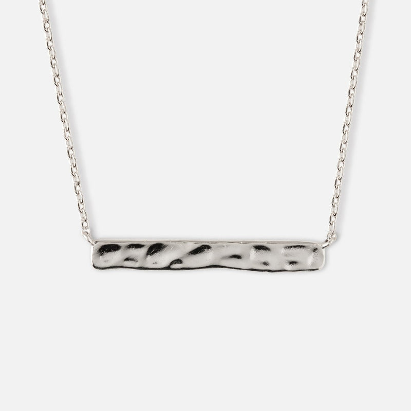 Orelia Hammered Bar Silver Necklace