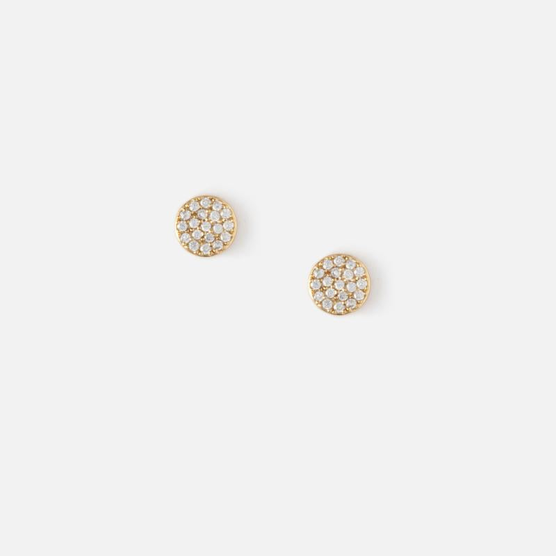 Orelia Pave Disc Stud Earrings
