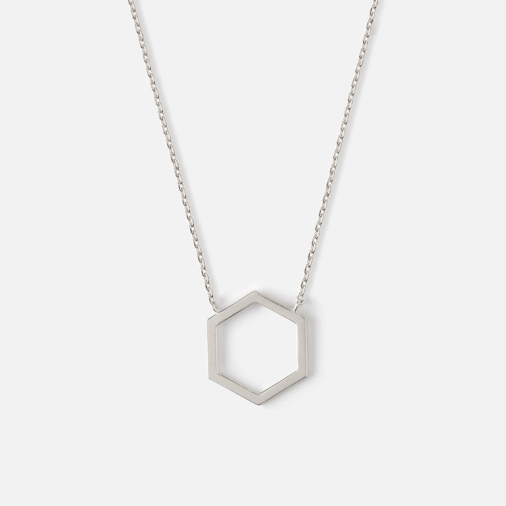 Orelia Open Hexagon Charm Necklace