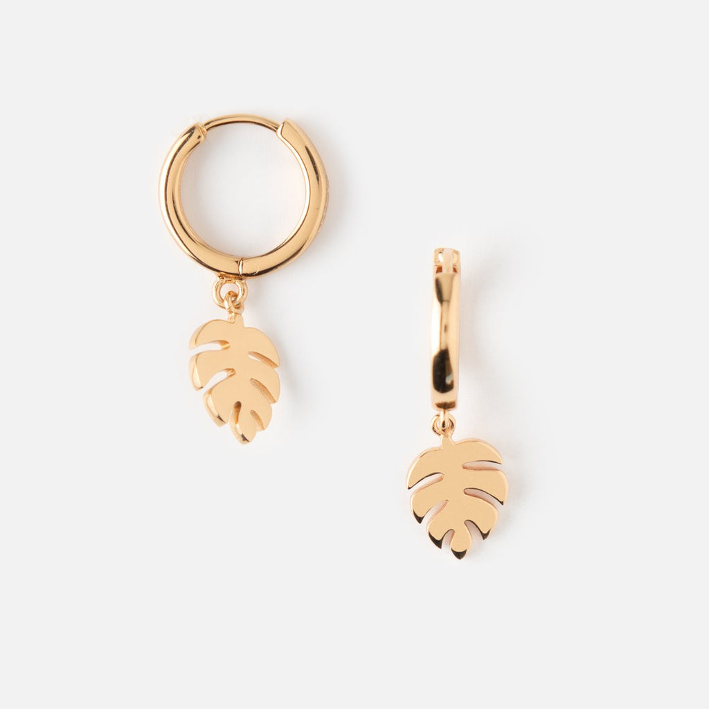 Orelia Palm Leaf Hoop Earrings