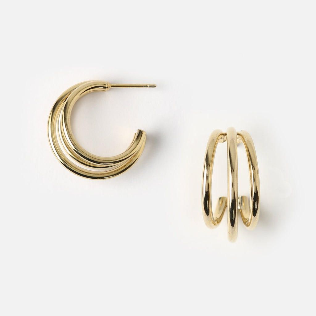 Orelia Triple Open Hoop Earrings
