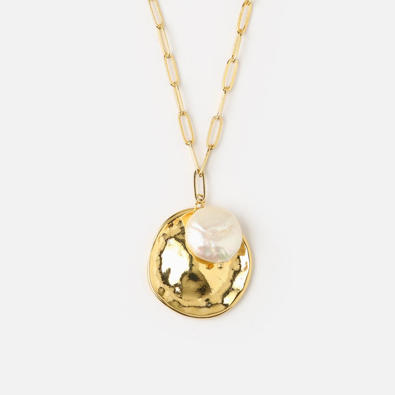 Orelia Coin & Pearl Cluster Necklace