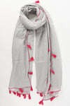 Dark Grey Tassel Scarf