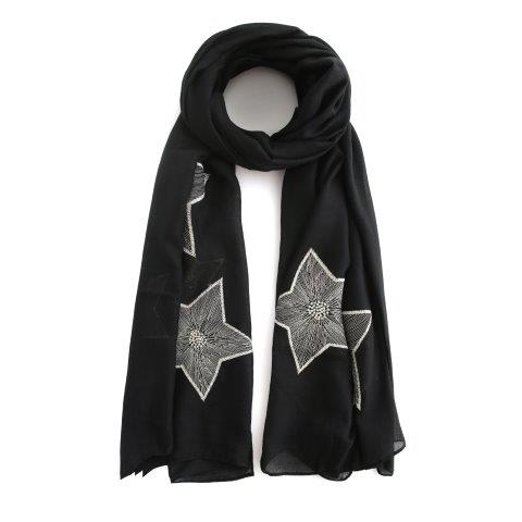 Embroidered Stars Scarf