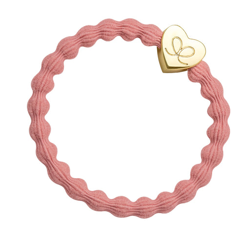 Gold Heart Pink Charm Hair Band