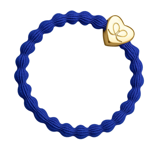 Gold Heart Royal Blue Charm Hair Band