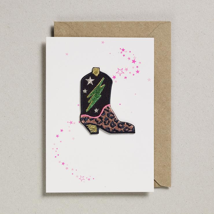 Cowboy Boot Iron On Patch Card