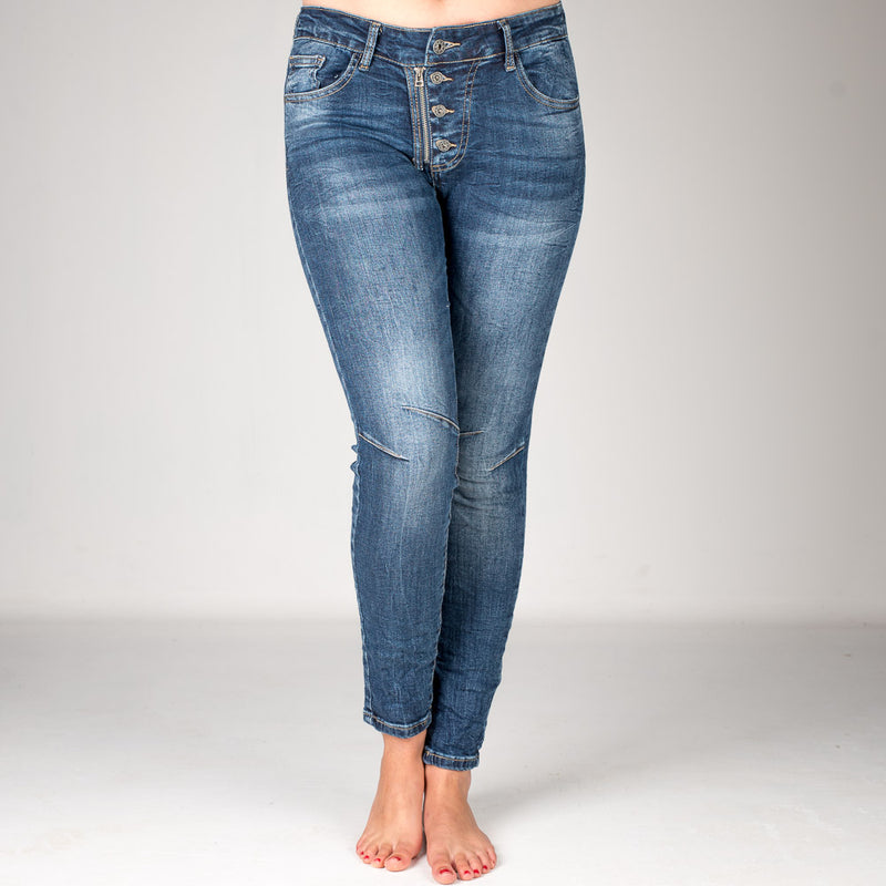 Melly & Co Denim 4 Button Hole Detail Jeans