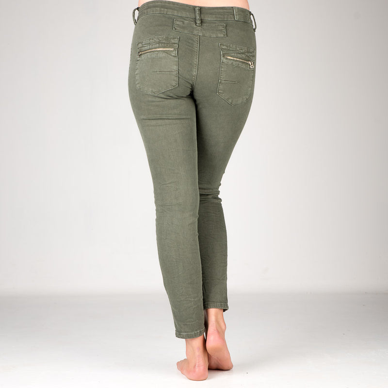 Melly & Co Forest Green 5 Button Hole Detail Jeans