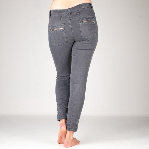 Melly & Co Charcoal 5 Button Hole Detail Jeans
