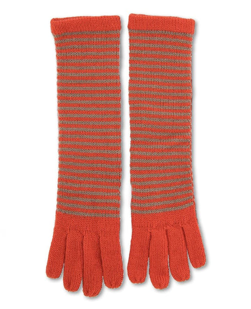 Hannah Long Gloves in Tangerine