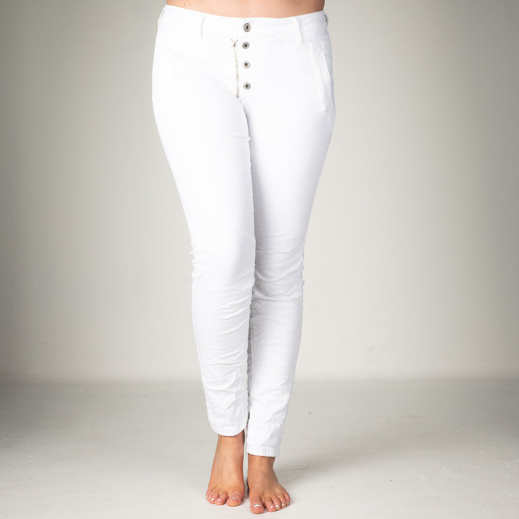 Melly & Co White 5 Button Hole Detail Jeans