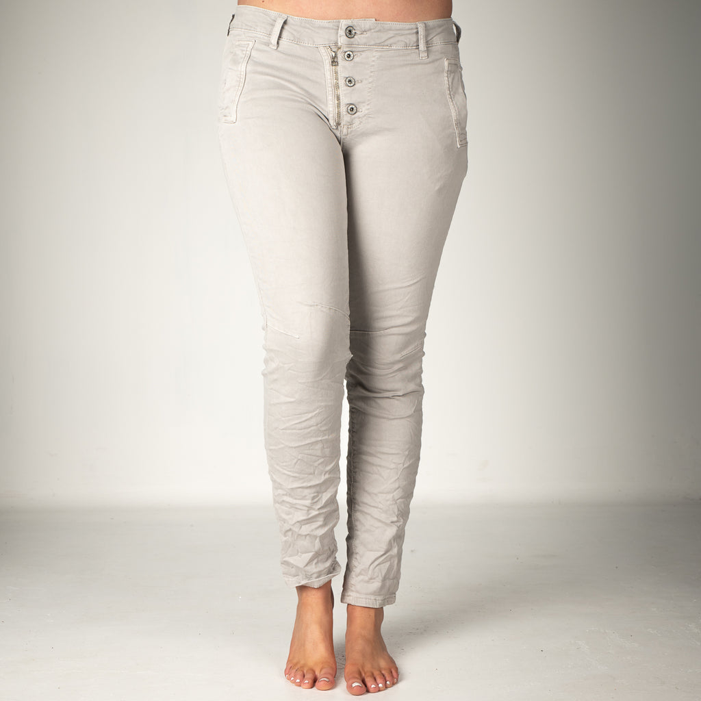 Melly & Co Light Grey 5 Button Hole Detail Jeans