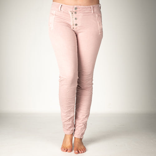 Melly & Co Pink 5 Button Hole Detail Jeans