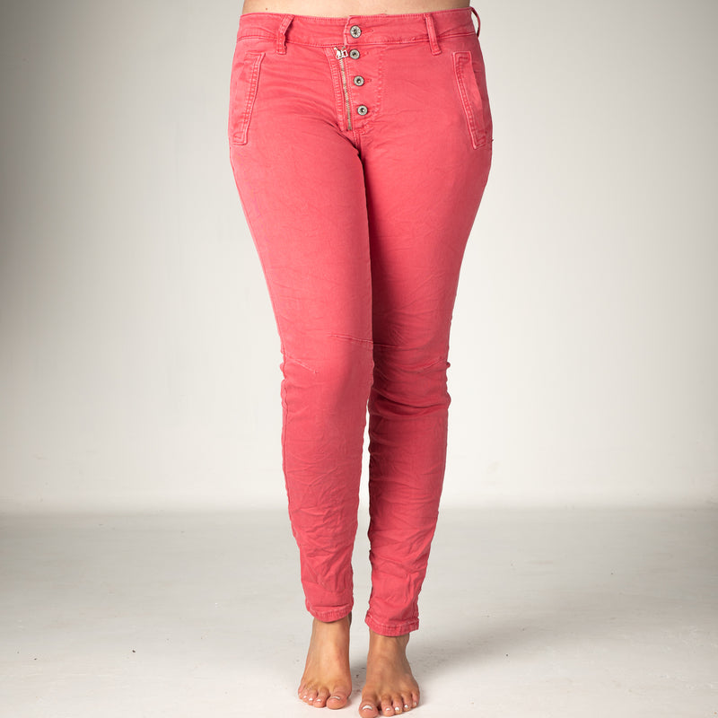 Melly & Co Coral 5 Button Hole Detail Jeans