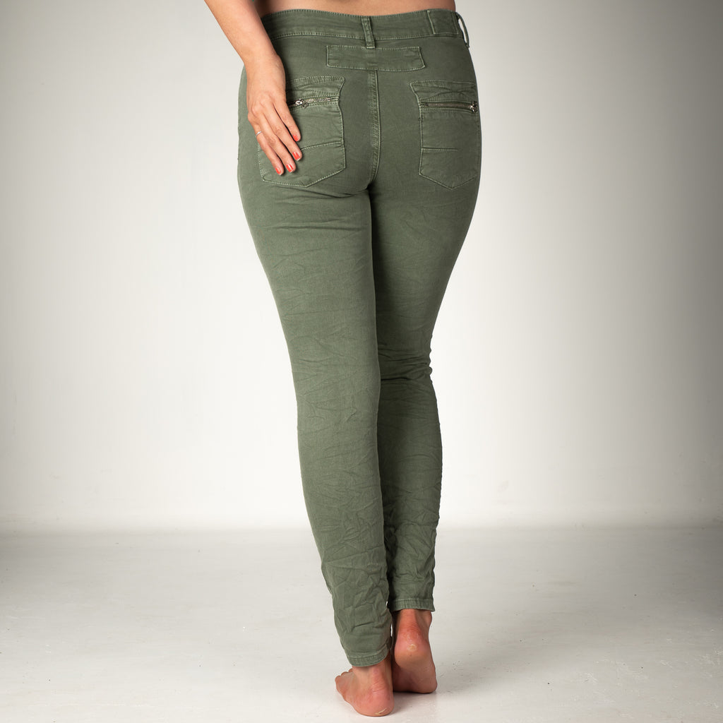 Melly & Co Khaki 5 Button Hole Detail Jeans