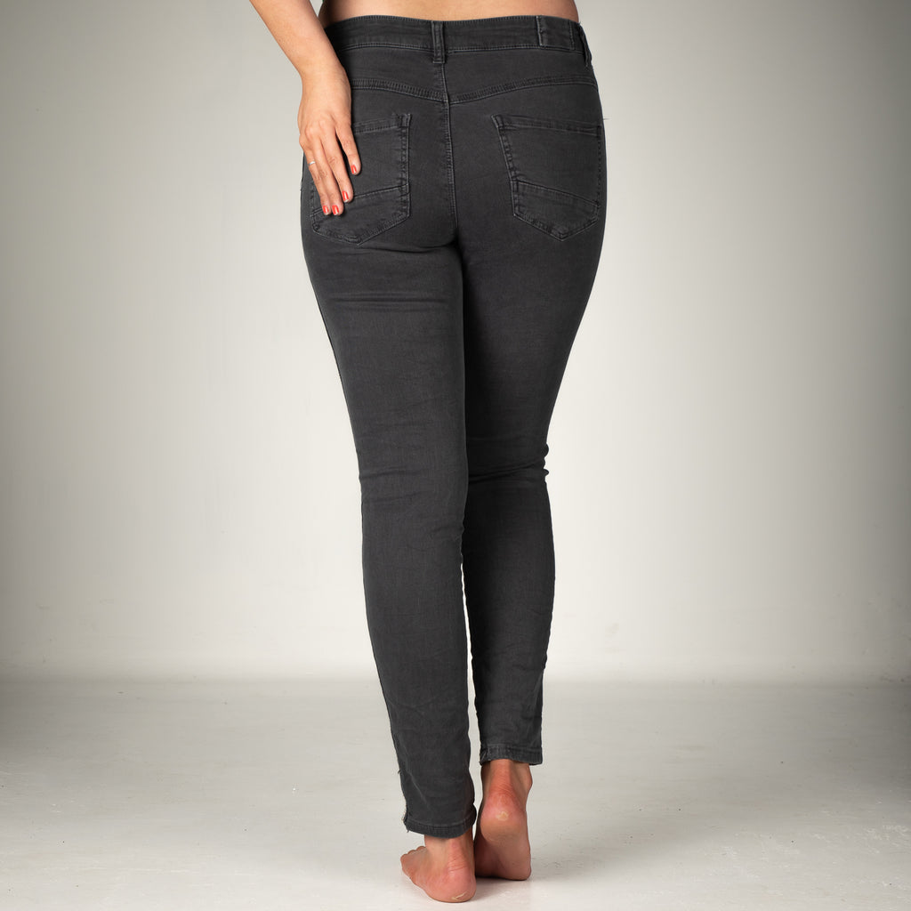 Melly & Co Charcoal Silver Stripe Detail Jeans