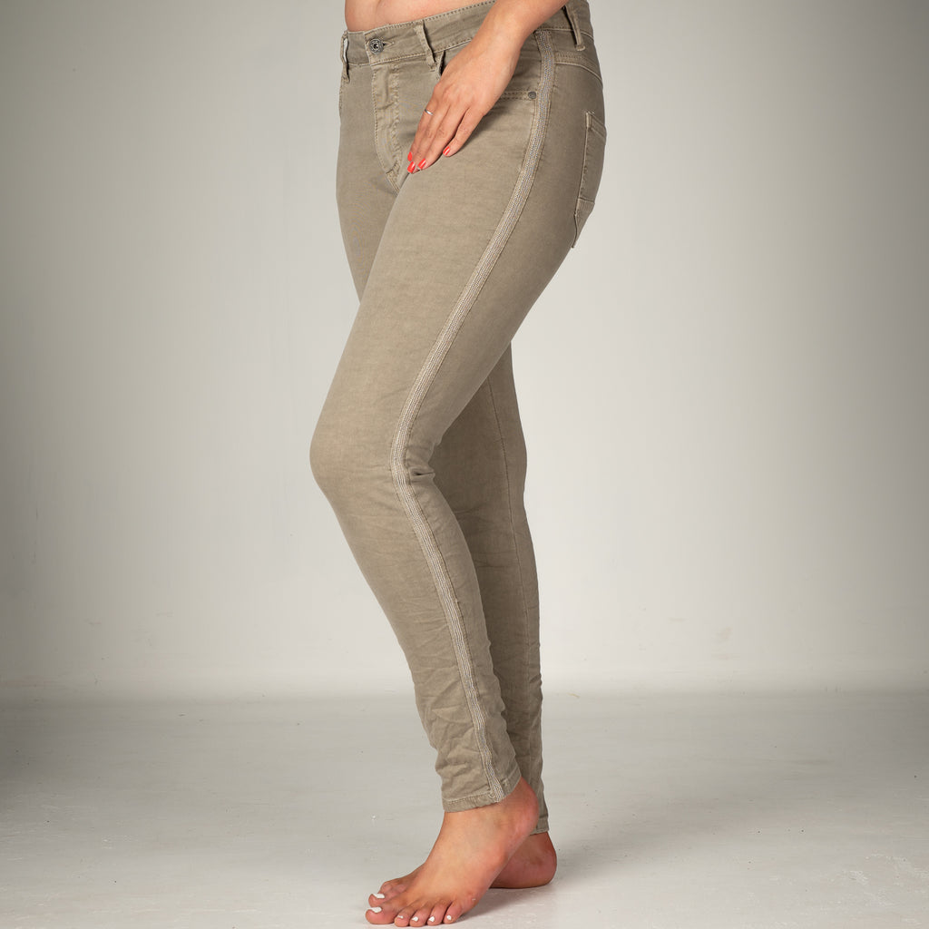 Melly & Co Stone Silver Stripe Detail Jeans