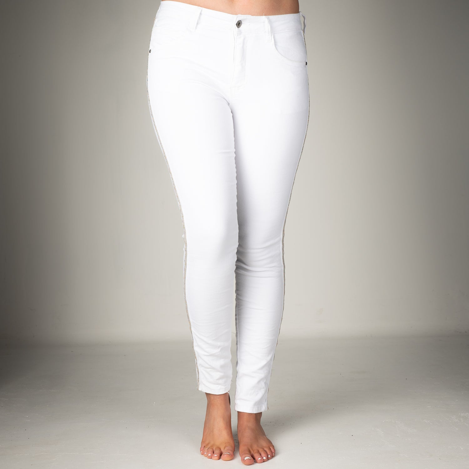 Melly & Co White Silver Stripe Detail Jeans