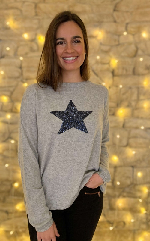 Sequin Star Jumper Silver/Navy