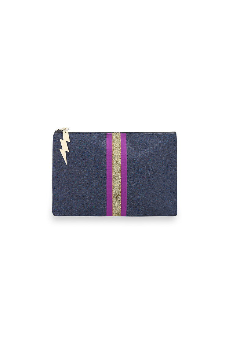 Navy Glitter Make Up Bag