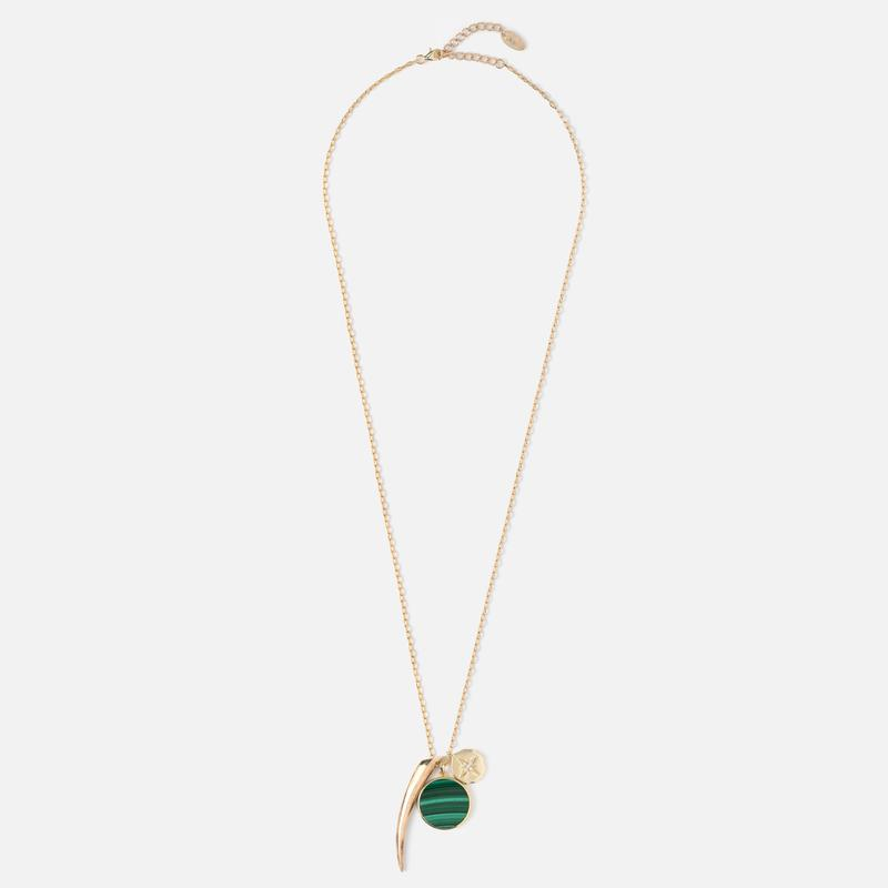 Orelia Malachite Cluster Long Necklace