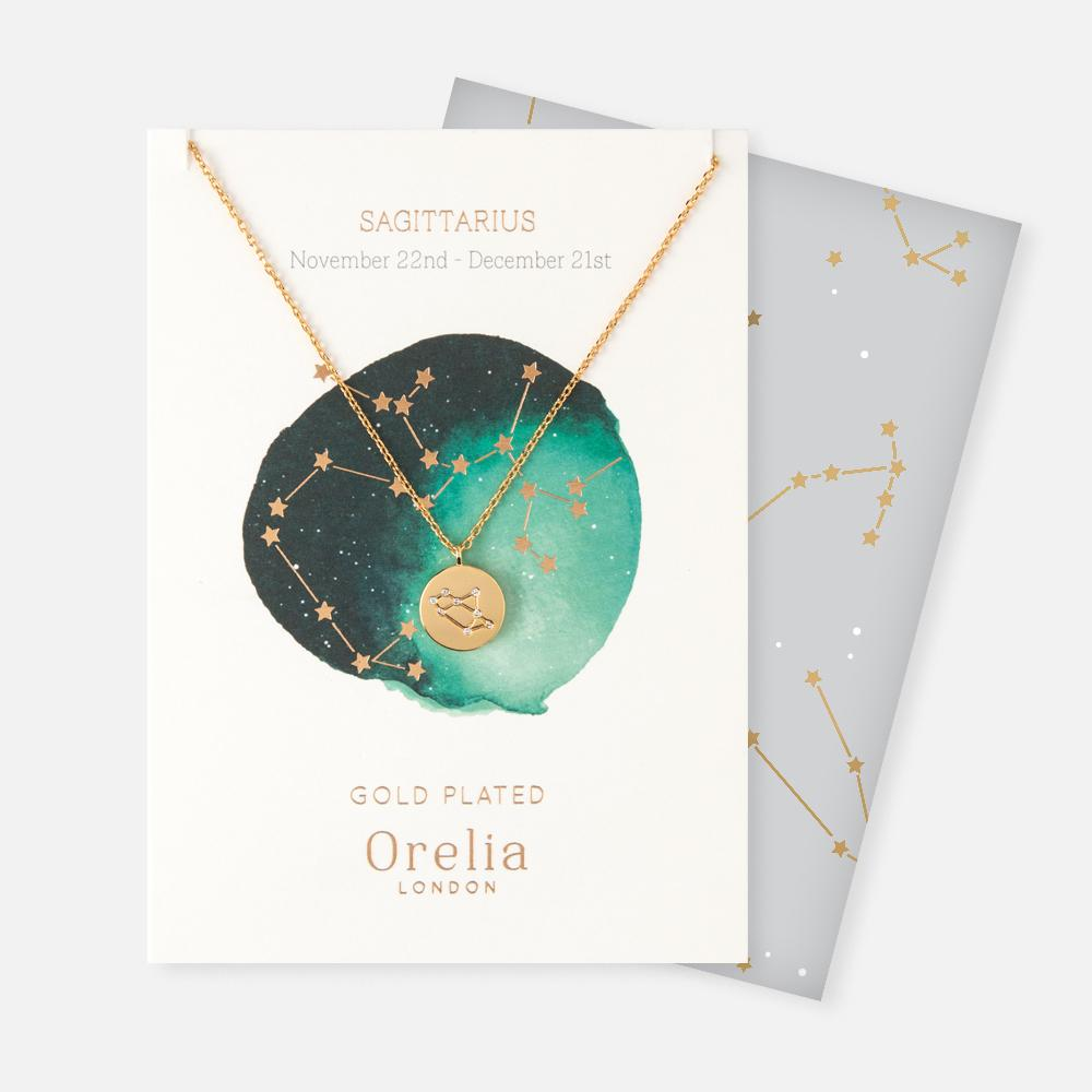 Orelia Constellation Star Sign Disc Necklace
