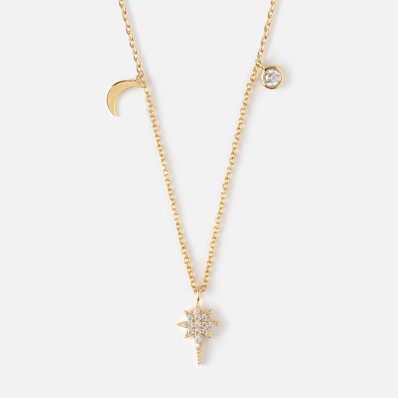 Orelia Starburst Charm Necklace