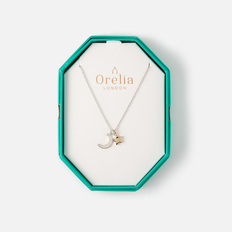 Orelia Moon & Star Necklace Gift Box