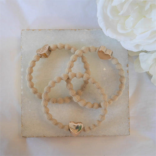 Gold Heart Cream Charm Hair Band