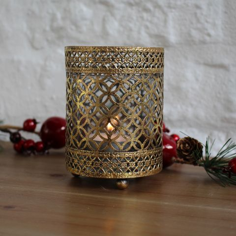 Biggie Best Metal Mesh & Glass Candle Holder