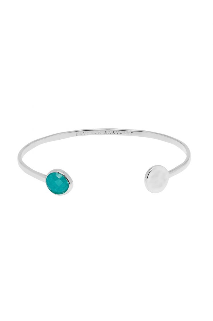 Estella Bartlett Disc & Gemstone Open Bangle