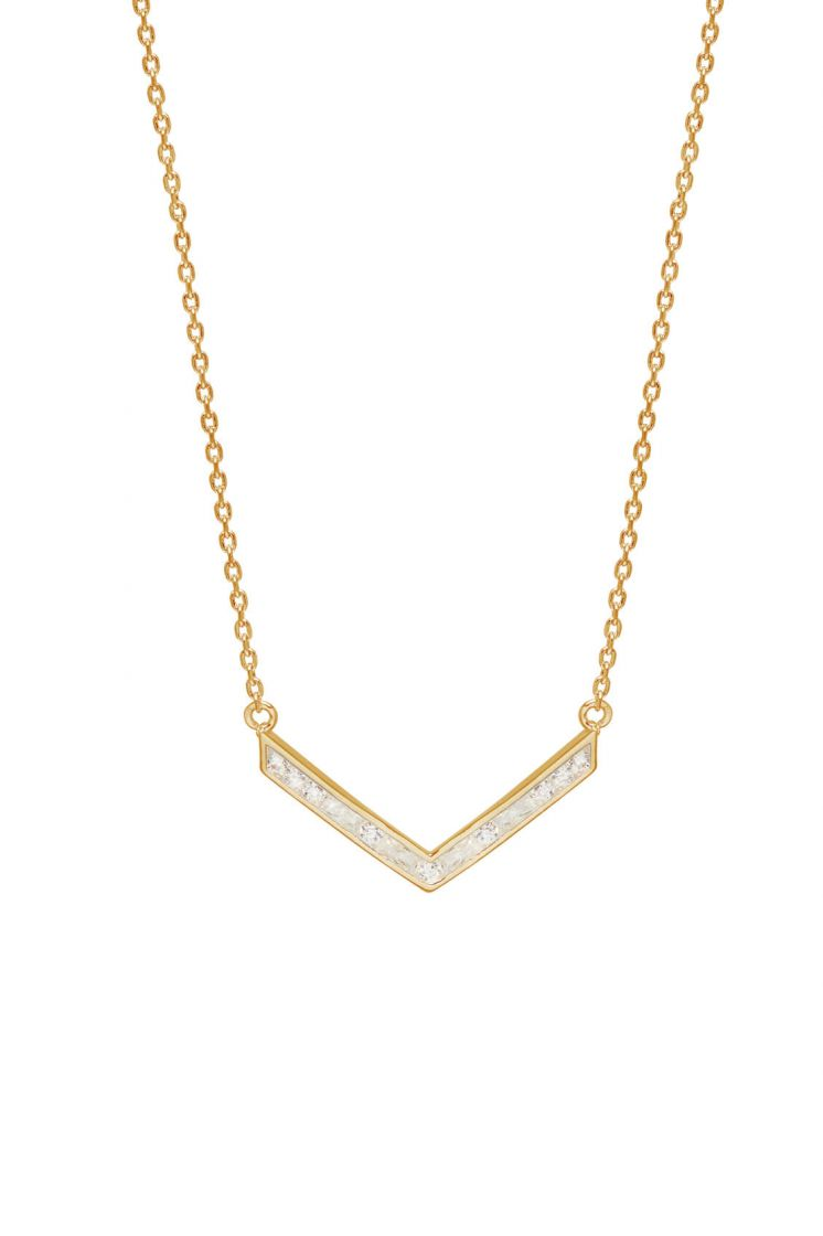 Estella Bartlett Baguette V Necklace