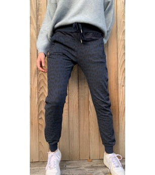 Leopard Joggers with Zips Navy