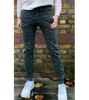 Leopard Joggers with Zips Green