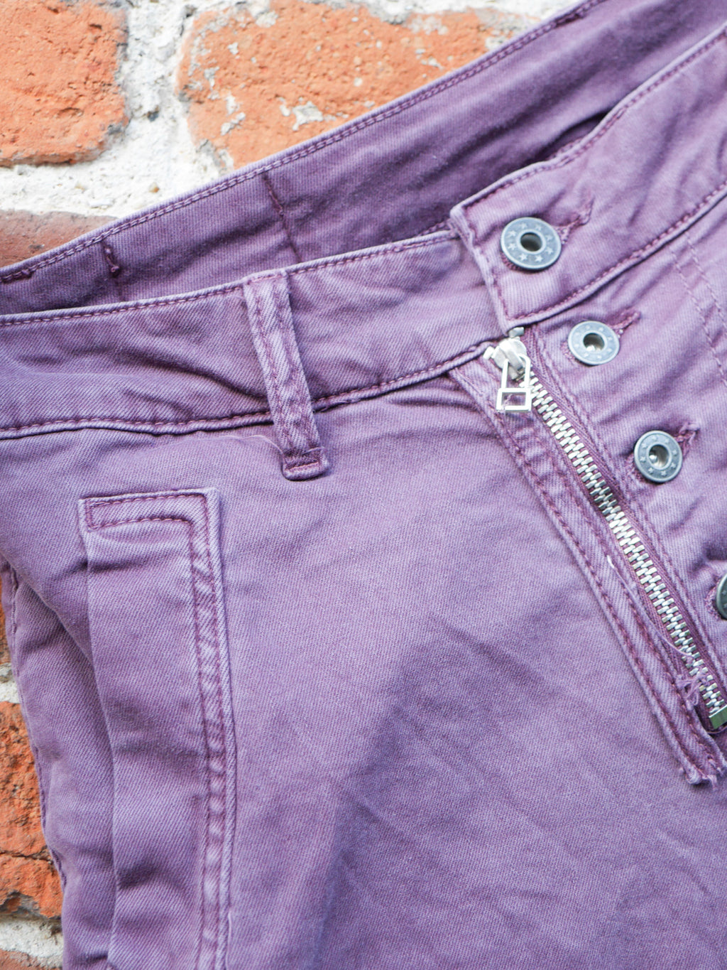 Melly & Co Plum 5 Button Hole Detail Jeans
