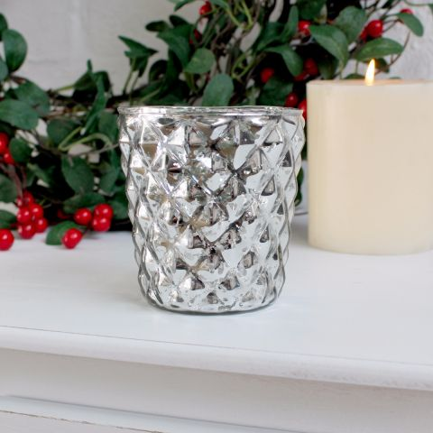 Biggie Best Silver Diamond Glass Candle Holder