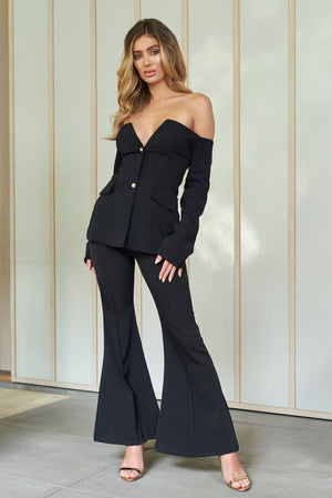 Black High Waist Extreme Kick Flare Trousers - Club L London