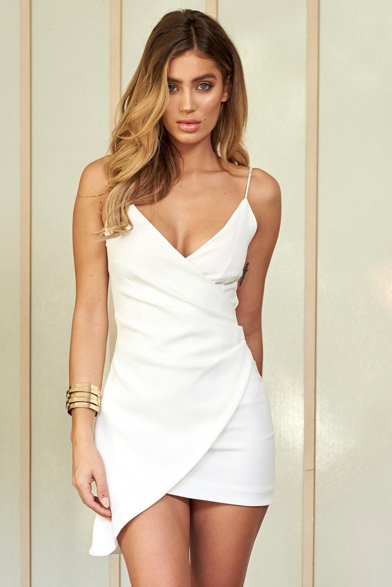 White Wrap Asymmetric Cami Mini Dress - Club L London