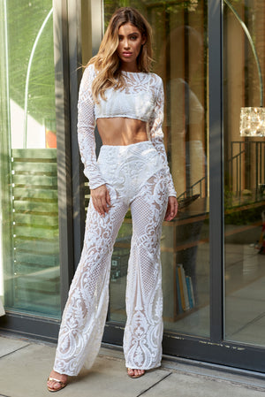 White Baroque Geo Sequin Trousers