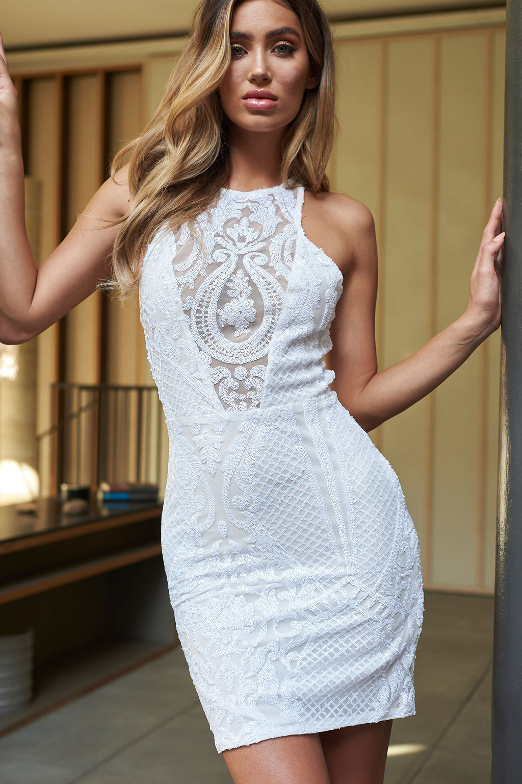 White Baroque Sequin Mini Dress